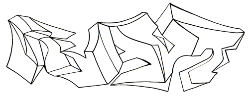 a graffiti outline executed in black and white designed to illustrate using 8 bit pngs for certain kinds of artwork