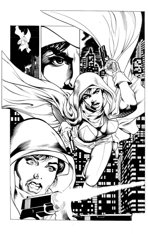 image, rob larsen, comic book inking  Sample, Brent Anderson Pencils