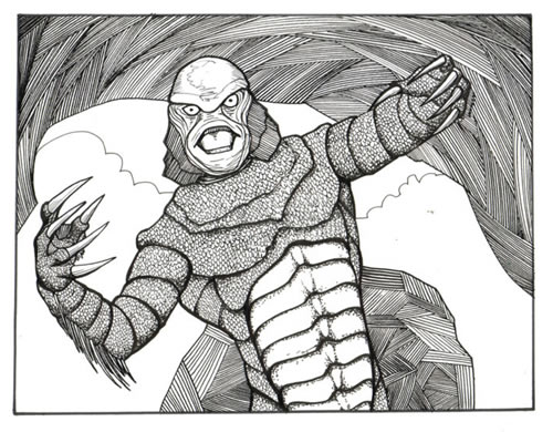 Creature from the black lagoon comic book art rob larsen for Creature from the black lagoon coloring pages