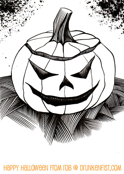 jack o lantern image, rob larsen comic book art