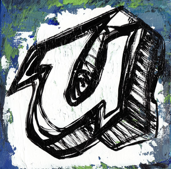 image, rob react, graffiti letter u