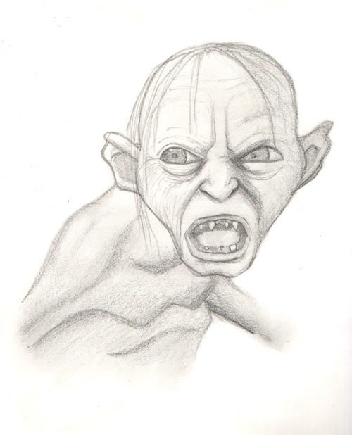 Lord of The Rings Pencil Drawings Lord of The Rings Gollum