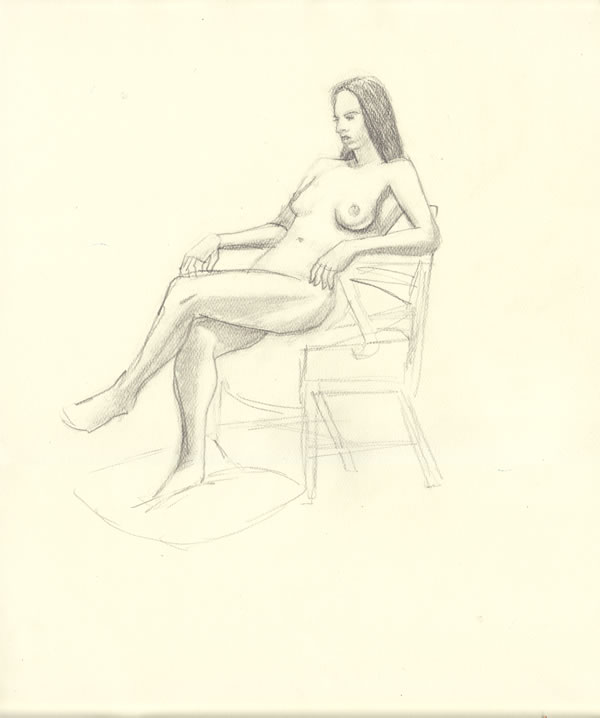 image, drunkenfist.com rob larsen  life drawing seated female model